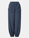 Solid Color Plain Elastic Waist Pocket Long Casual Pants for Women - Blue