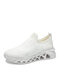 Women's Cushioned Breathable Stretch Knitted Fabric White Comfy Walking Sneakers - White