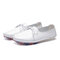 Soft Leather Lightweight Lace Up Front Oxford White Flats for Women - White