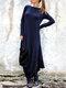 Casual Solid Color Pockets Side Slit Long Sleeve Dress - Navy