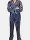 Navy & Red Striped Lapel FauxSilk Smooth Pajamas Two Piece Chest Pockets Sleepwear For Men - Blue
