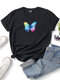 Butterfly Printed Short Sleeve O-neck T-shirt For Women - Black