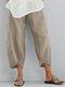 Сплошной цвет Elasitc Waist Plus Размер Повседневный Брюки для Женское - Бежевый