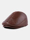 First Layer Cowhide Leather Hat Men's Fashion Beret Hats - Red Brown