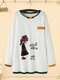 Cartoon Embroidery Crew Neck Plus Size Pullover Cotton Sweatshirt - White