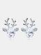 Christmas Crystal Gem Women Ear Stud Stereoscopic Reindeer Earrings - #06