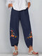 Vinatge Embroidery Floral Plus Size Pants for Women - Navy