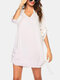 Mens Solid Color Notched Neckline Drawstring Sun Protection Cover Up - White