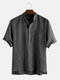 Mens Cotton Solid Color Pinstripe Stand Collar Casual Short Sleeve Henley Shirt - Black
