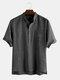 メンズコットン無地ピンストライプスタンドカラーカジュアル半袖ヘンリーシャツ - ブラック