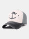 Unisex Distressed Cotton Contrast Color Patchwork Boat Anchor Stars Printed Sunscreen Baseball Caps - #02