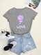 Casual Print O-neck Short Sleeve Plus Size Cotton T-shirt for Women - Grey