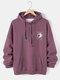 Mens Letter & Satellite Back Print Polar Fleece Lined Warm Drawstring Hoodies - Purple