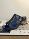 Women Fashion Peep Toe Ethnic Graceful Floral Embroidered Mesh Diamond Chunky Heels Slippers - Blue