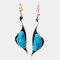 Retro Geometric Little Swan Turquoise Earrings Metal Irregular Pendant Earrings - Silver