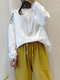 Vintage Embroidery Button O-neck Long Sleeve Blouse - White
