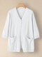 Solid Button Pocket 3/4 Sleeve V-neck Knitted Cardigan - White