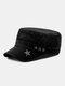 Men Denim Embroidery Print Star Decor Sunshade Outdoor Military Hat Flat Hat Peaked Cap - Black