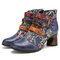 SOCOFY Flowers Embroidery Splicing Genuine Leather Wearable Sole Chunky Heel Ankle Boots - Blue