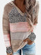 Leopard Print Patchwork Long Sleeve Knitted Plus Size Hoodie - Khaki