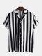 Mens Striped V Neck Button Down Short Sleeve Shirt - Black