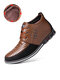 Men Microfiber Leather Rivet Lace Up Business Casual Ankle Boots - Brown(Plush Lining)