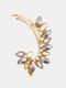 1 Pc Vintage Butterfly Flowers Women Earrings Temperament Full Diamonds Crystal Ear Clips Ear Stud - #03