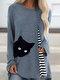 Cartoon Cat Striped Patchwork O-neck Long Sleeve T-shirt - Dark Blue