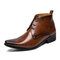 Men Vintage Pointed Toe Lace Up Ankle Dress Boots - Brown