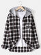 Mens Cotton Plaid Button Up Long Sleeve Casual Drawstring Hooded Shirts - Black