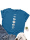 Moon Print Short Sleeve O-neck Loose Casual T-Shirt For Women - Blue