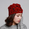 Women Wool Beanie Cap Knitted Lace Hand-knitted Hat Crochet Decoration Hat - Wine Red