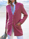 Casual Cotton Blended Long Sleeve Stand Collar Plus Size Coat - Red