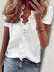 Stringy Selvedge Solid Color Print Short Sleeve Blouse - #01