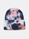 Unisex Core-spun Yarn Knitted Tie-dye Letter Leather Label Fashion Warmth Beanie Hat - #03