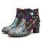 SOCOFY Folkways Flowers Embroidery Printing Leather Side Zipper Non Slip Ankle Boots - Blue