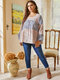 Floral Print Patchwork O-neck Long Sleeve Plus Size Casual Blouse - Blue