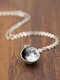 Double-Sided Glass Ball Women Necklace Gray Galaxy Planet Pendant Necklace Jewelry - #05