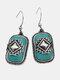 Vintage Rectangle Shield Women Earrings Turquoise Pendant Earrings Jewelry Gift - Silver