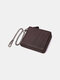 Men Genuine Leather Chains Money Clips Coin Purse Wallet - Coffee 1