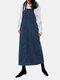 Vintage Corduroy Solid Color Pockets Back Slit Hem Strap Dress - Blue