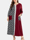 Color Contrast Geometric Print Patchwork Plus Size Dress with Pocket - Wine Red