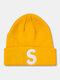 ユニセックスニットウールSレターパターン刺繡ビーニーハットニット帽 - 黄