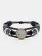 Vintage Round Glass Print Multicolor Cat Looking Sideways Hand-Woven Bracelet - Black