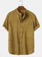 Mens Corduroy Stand Collar Solid Button Up Short Sleeve Shirts With Pocket - Yellow