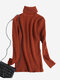 Casual Solid Color High-neck Women Knitted Sweater - Brown