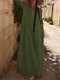 Casual Solid Color V-neck Long Sleeve Pleated Dress - Green
