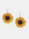 Vintage 3D Sunflower Wooden Earrings - Yellow