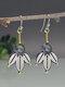 S925 Alloy Geometric Tree Leaf Labradorite Free Combination Asymmetric Earrings - #06