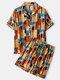 Plus Size Women Vintage Geometric Pattern Short Sleeve Revere Collar Pajama Sets - Orange